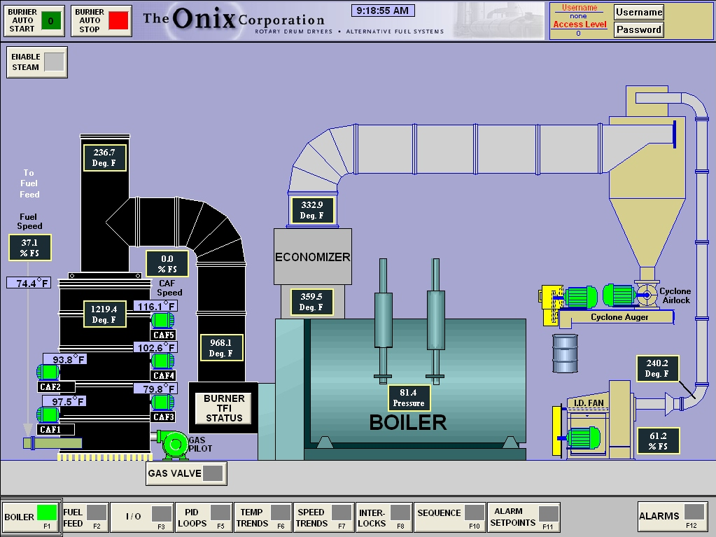 solid fuel burner boiler onix